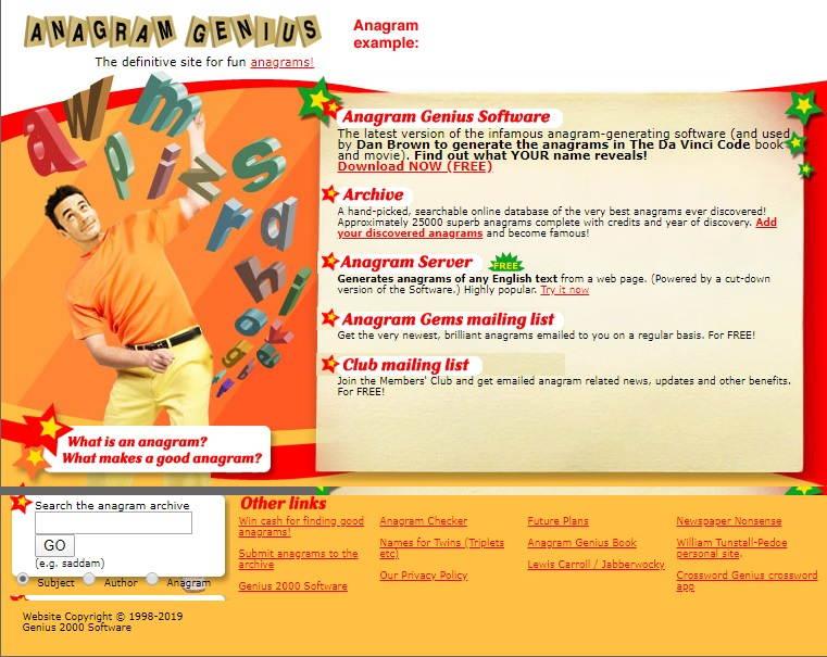Anagram Genius - Best Anagram Generator Websites, Software and Tools