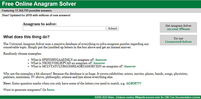 Anagram Solver - Best Anagram Generator Websites, Software and Tools