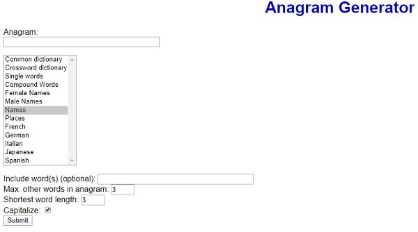 Futureboy.us - Anagram Generator