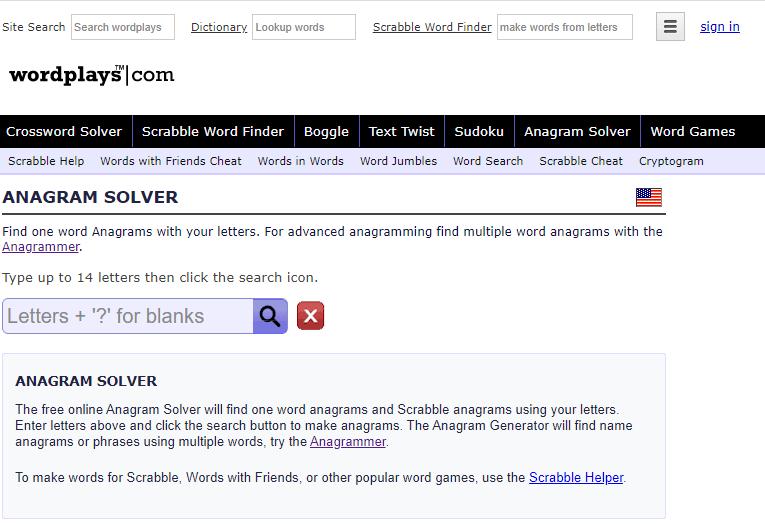 Wordplays Anagram Generator